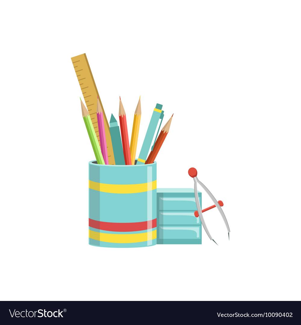 Set of School Utensils In Plactic Cup vector image