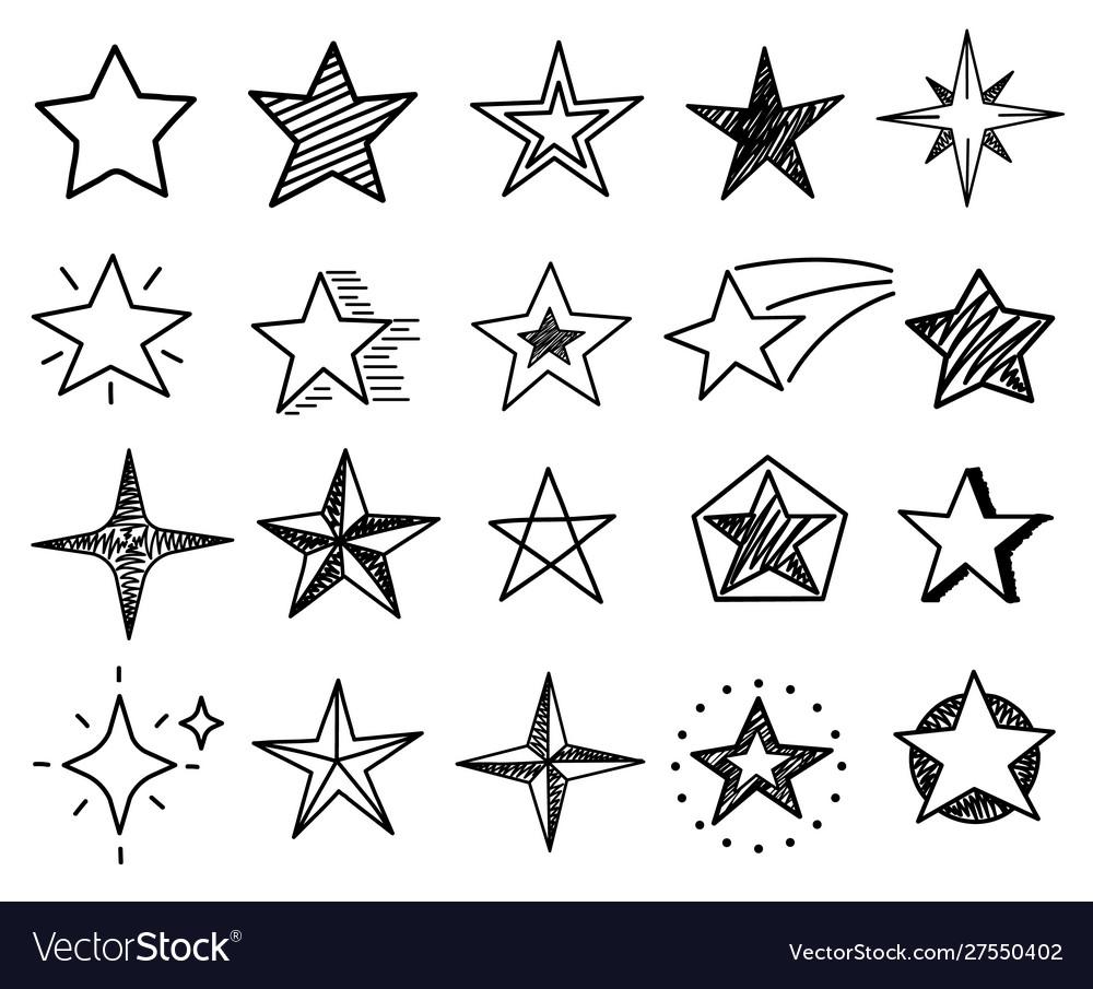 Sketch stars cute star shapes black starburst