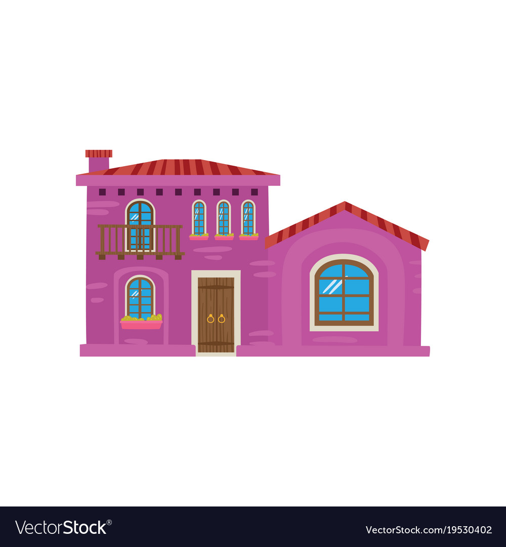 Traditional Mexican House Mexico City Facade Vector Image