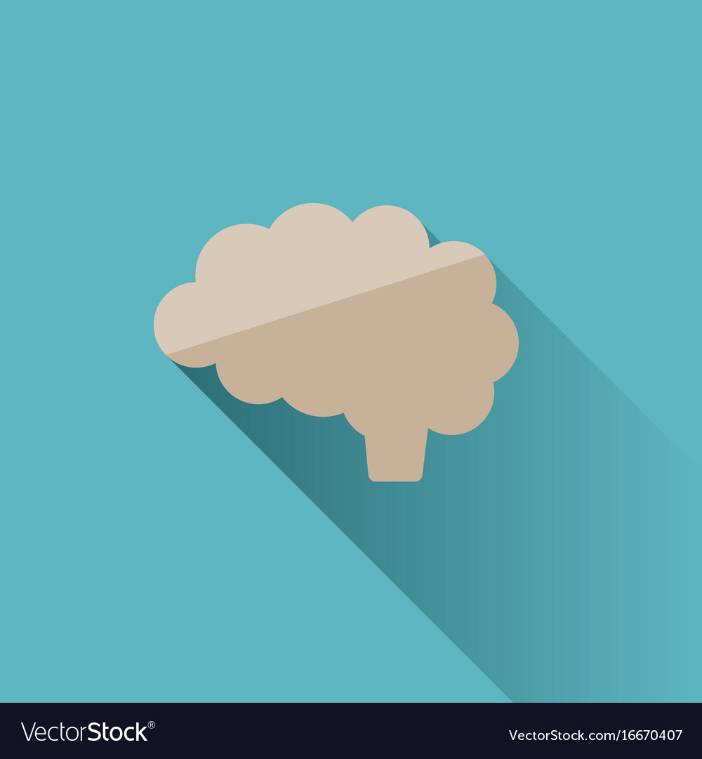 Brain icon with shade on blue background
