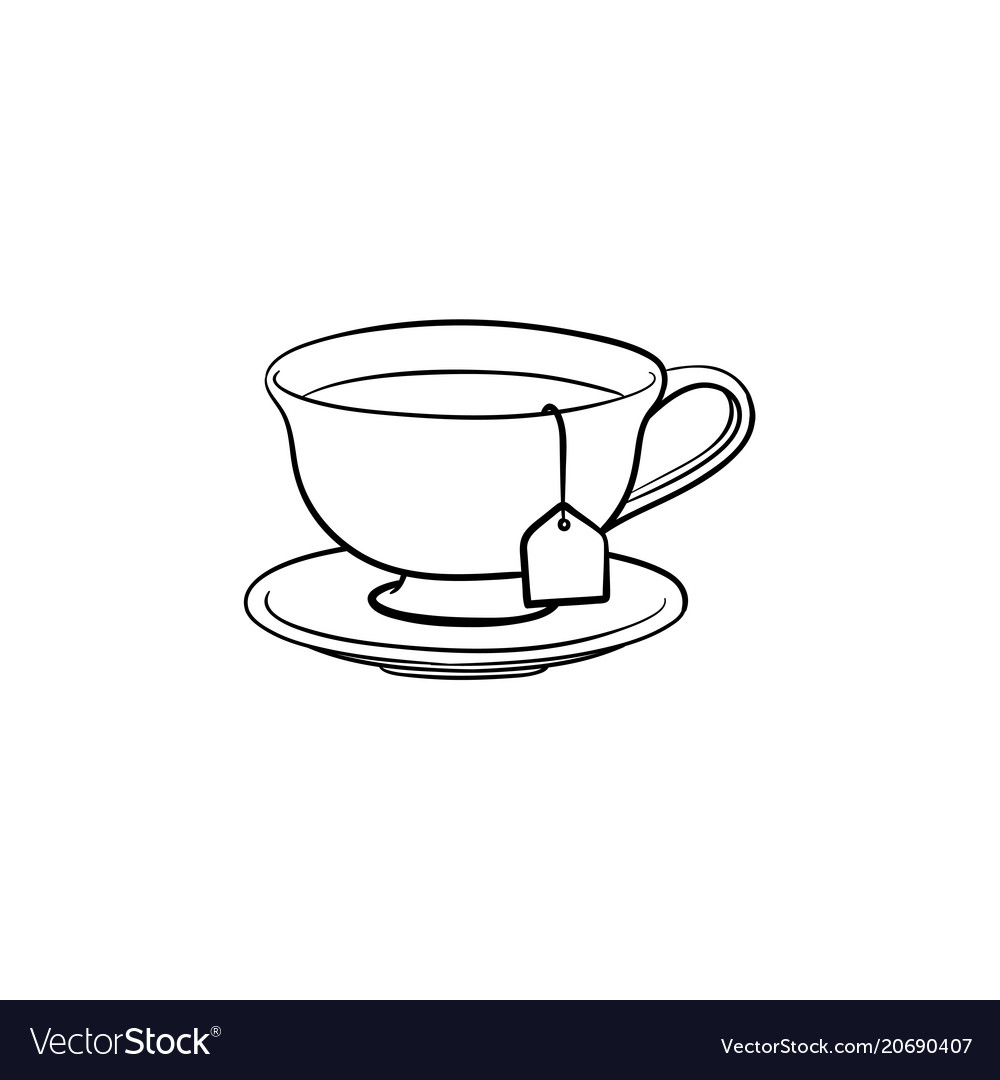 Cup With Tea Bag Hand Drawn Sketch Icon Royalty Free Vector