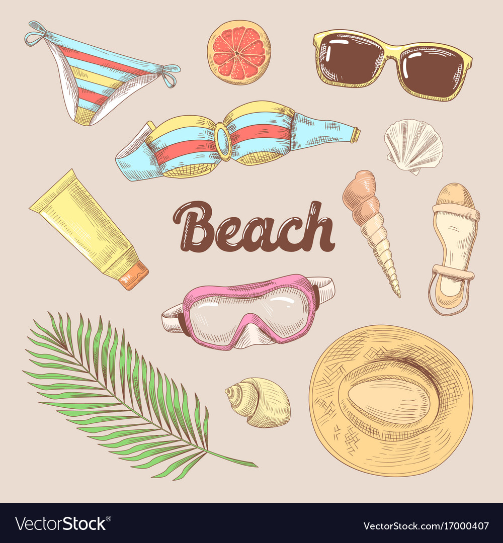 Hand drawn beach vacation doodle tourism fashion