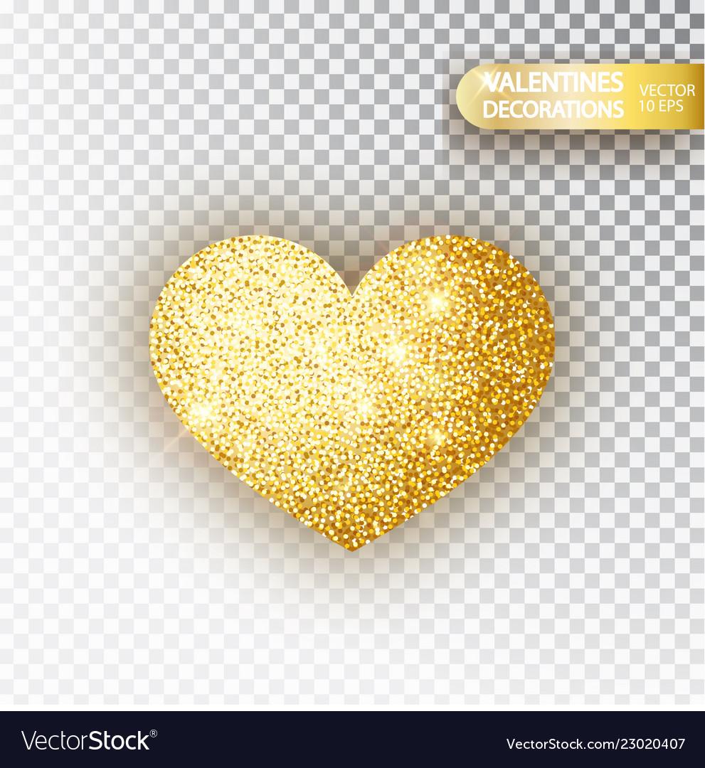 Heart golden glitter isoleted on transparent