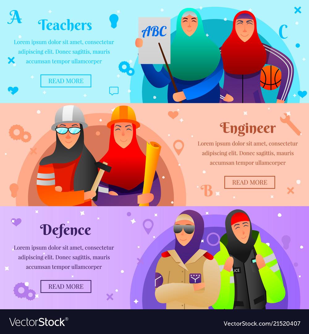 Muslim women professions flat banners