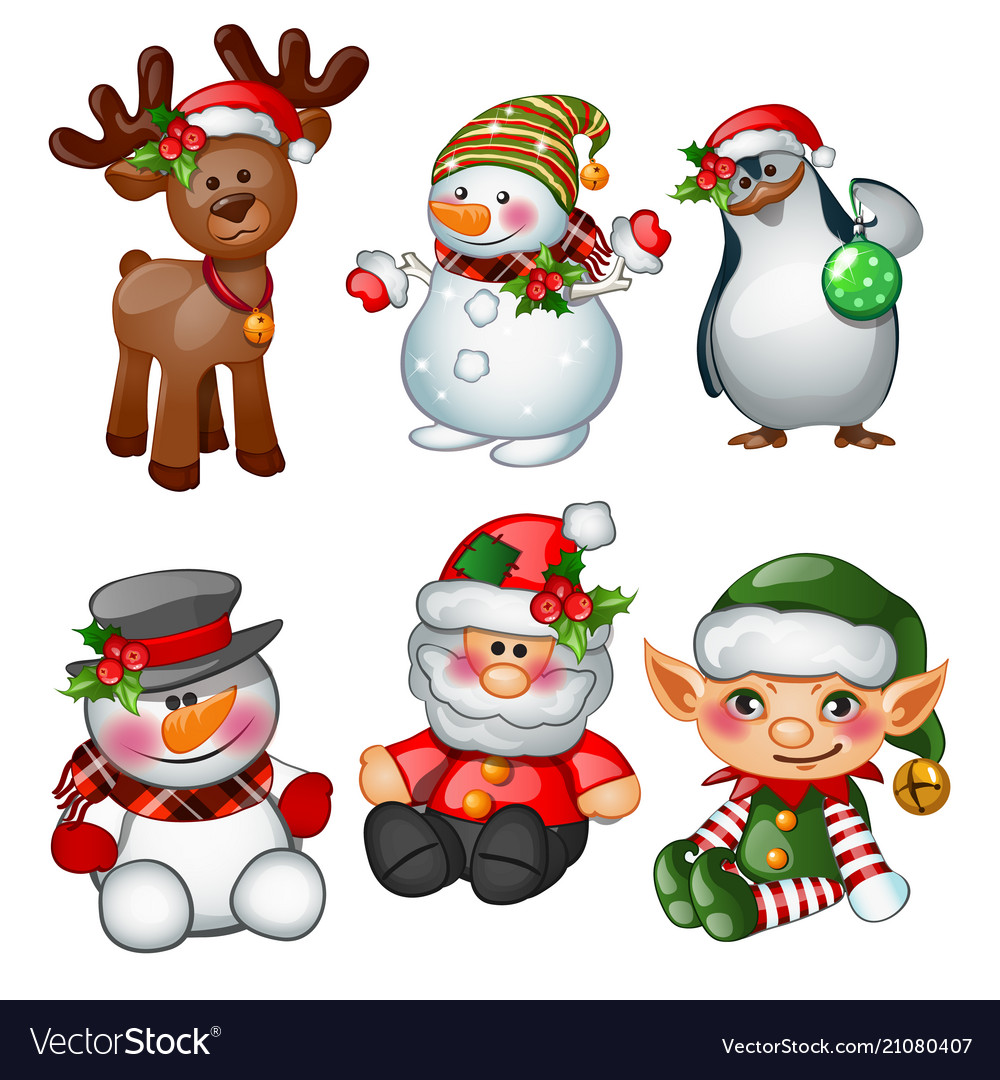 Santa claus reindeer snowman penguin santas