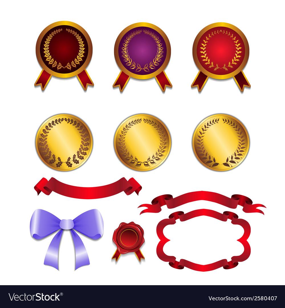 Set for design ribbons medals