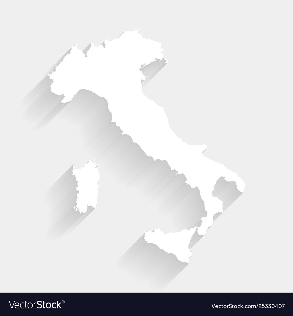 Simple Map Of Italy.Simple White Italy Map On Gray Background