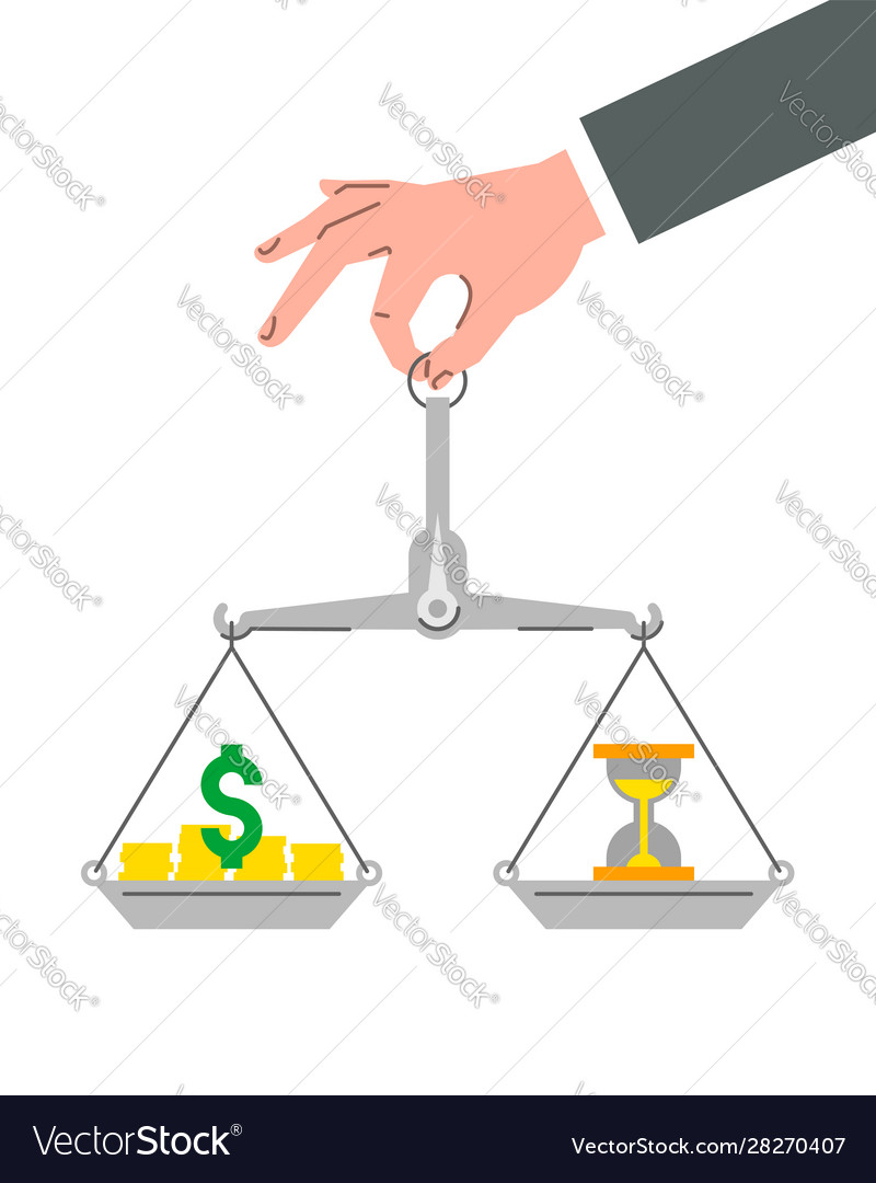 Time is money business concept with balance scales