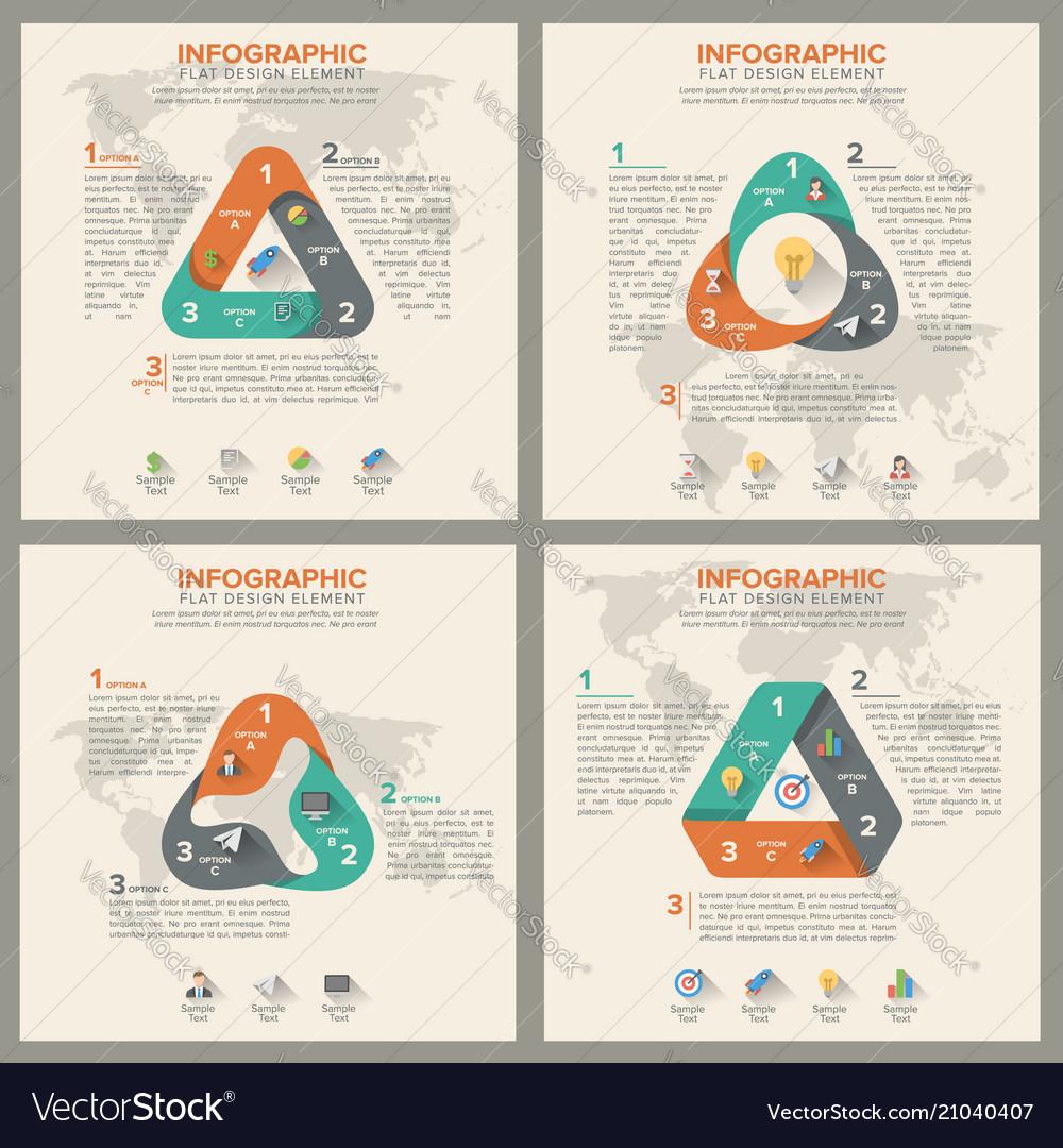 Triangle shape infographic set template flat