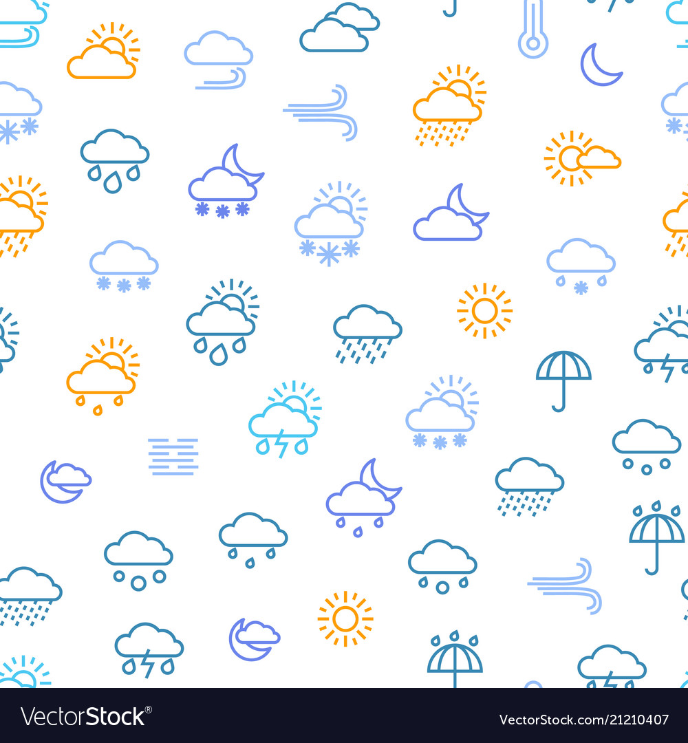 Weather forecast thin line seamless pattern