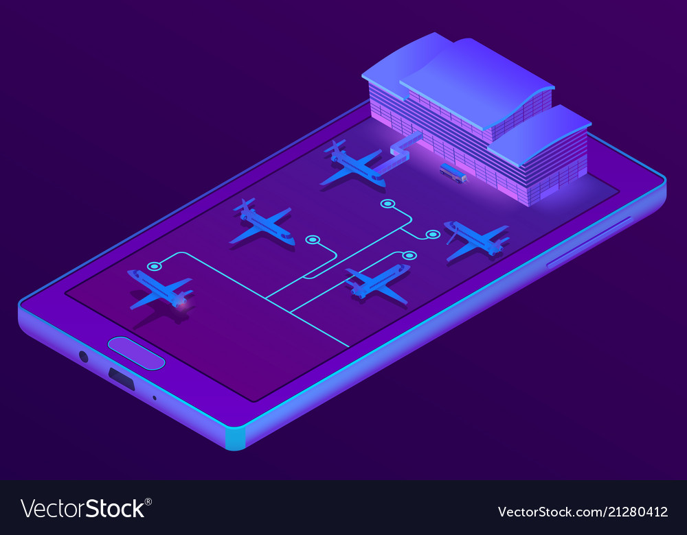 3d isometric smartphone - booking of