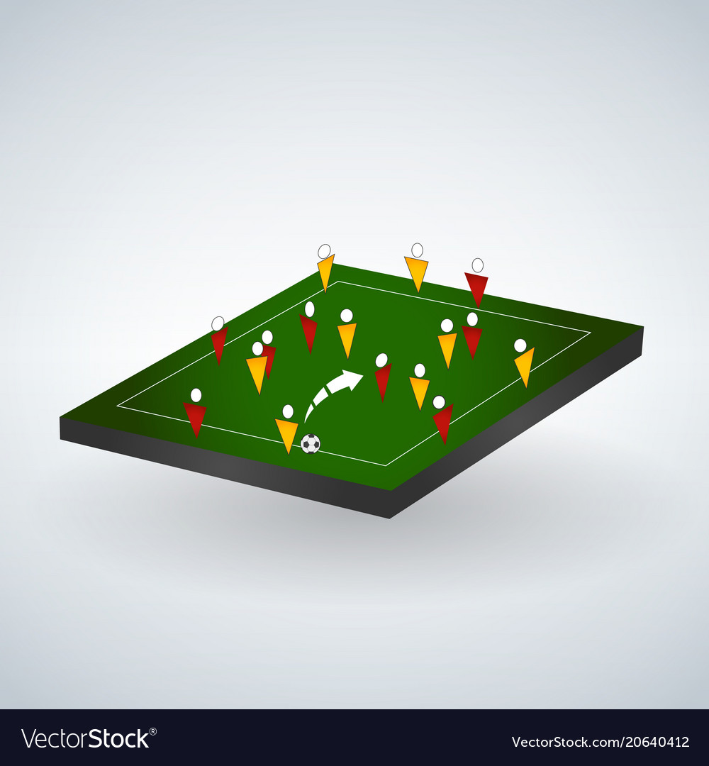 Abstract soccer field with players football team