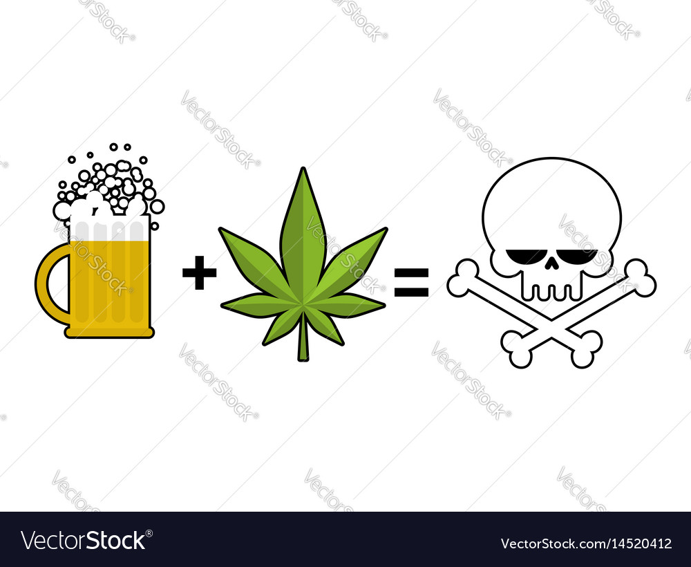 Alcohol and drugs is death mug of beer and vector image