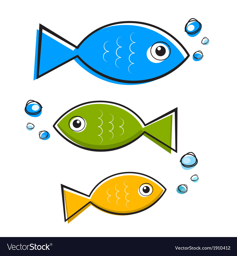 Blue Green and Orange Fish With Bubbles vector image