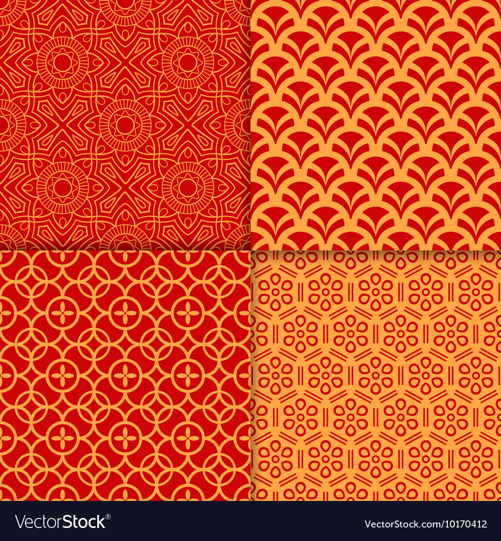 Chinese red geometric pattern set