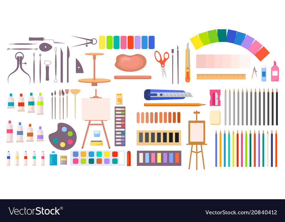 Collection of art supplies icons