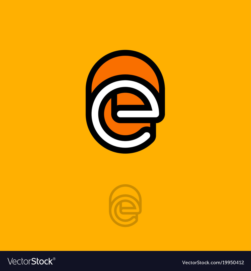 E monogram logo orange