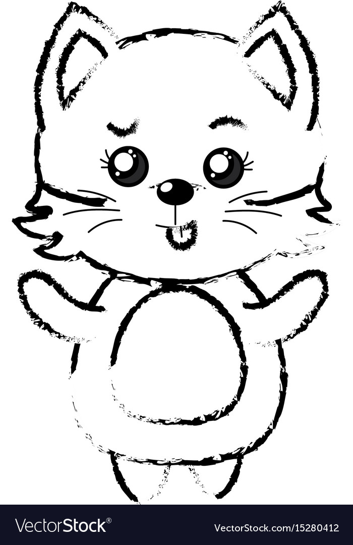 Figure cute cat wild animal with face expression vector image