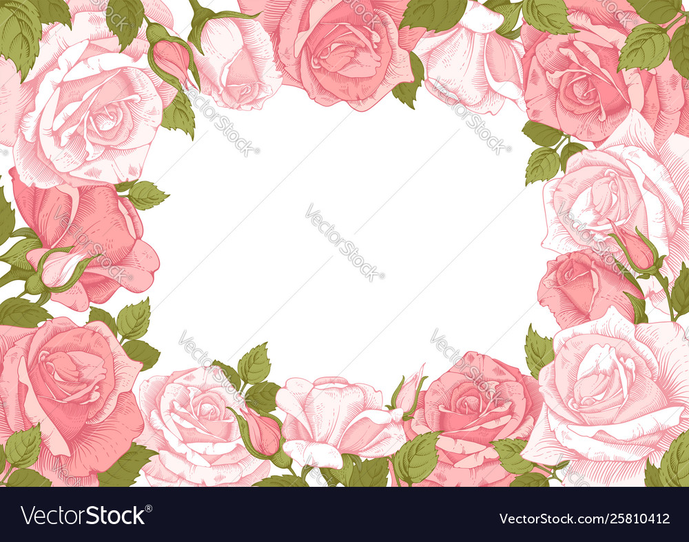 Floral frame with rose flowers