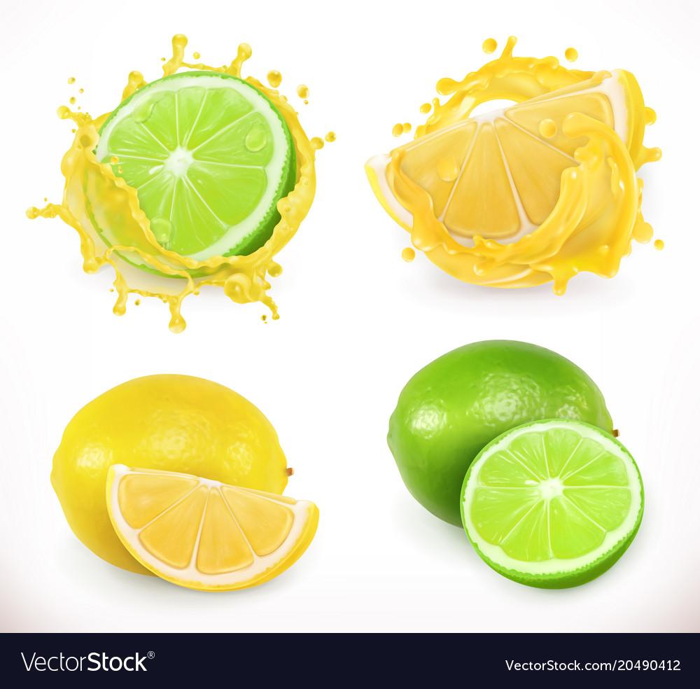 Lemon and lime juice fresh fruit 3d icon