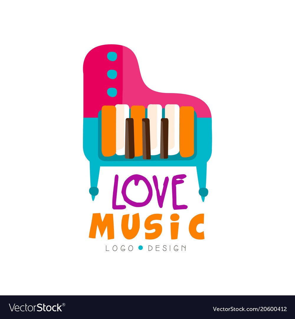 Music Logo With Colorful Grand Piano Large Vector Image
