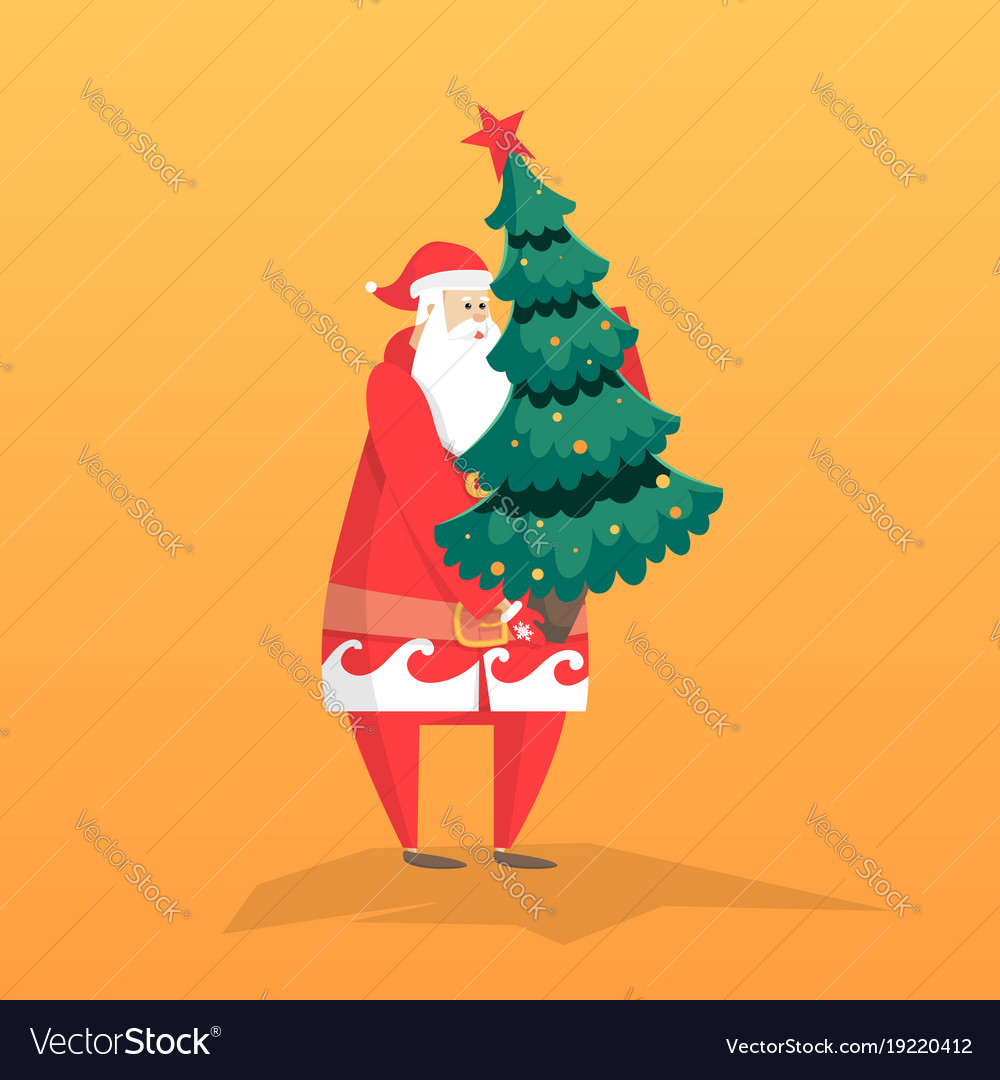 New year flat with santa gift