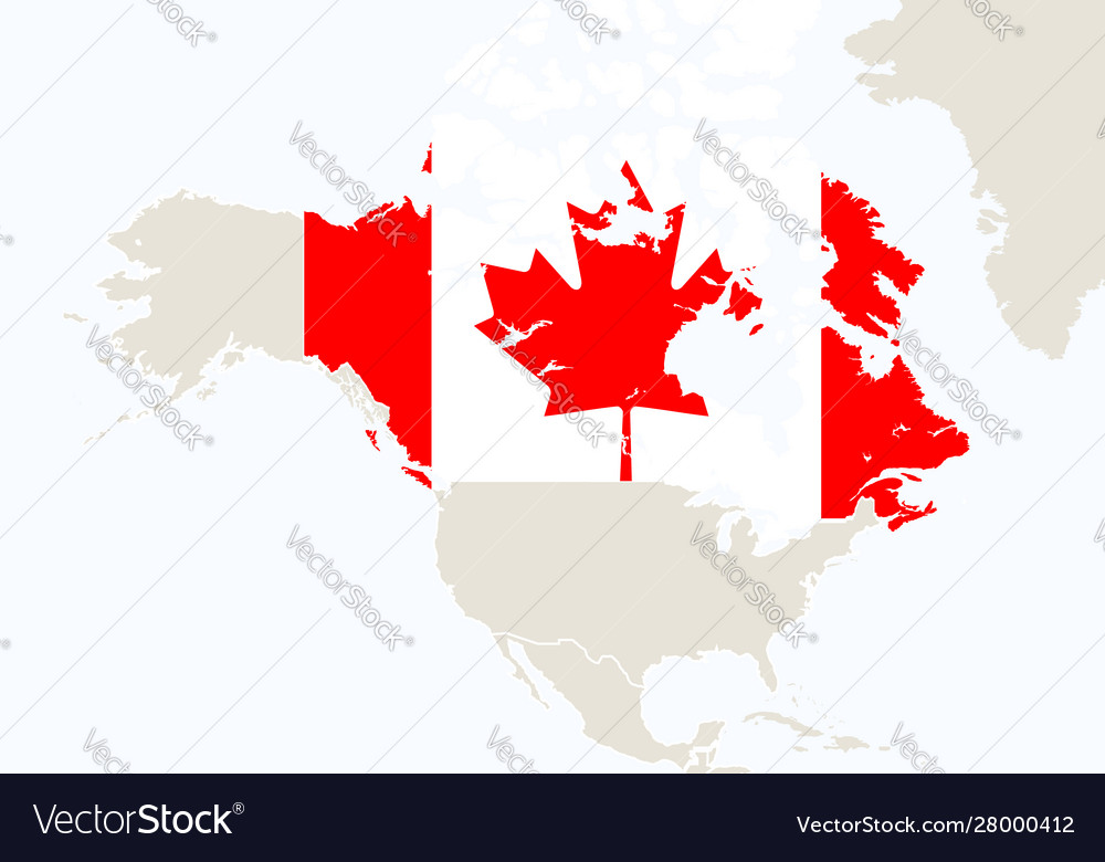 North america america with highlighted canada map