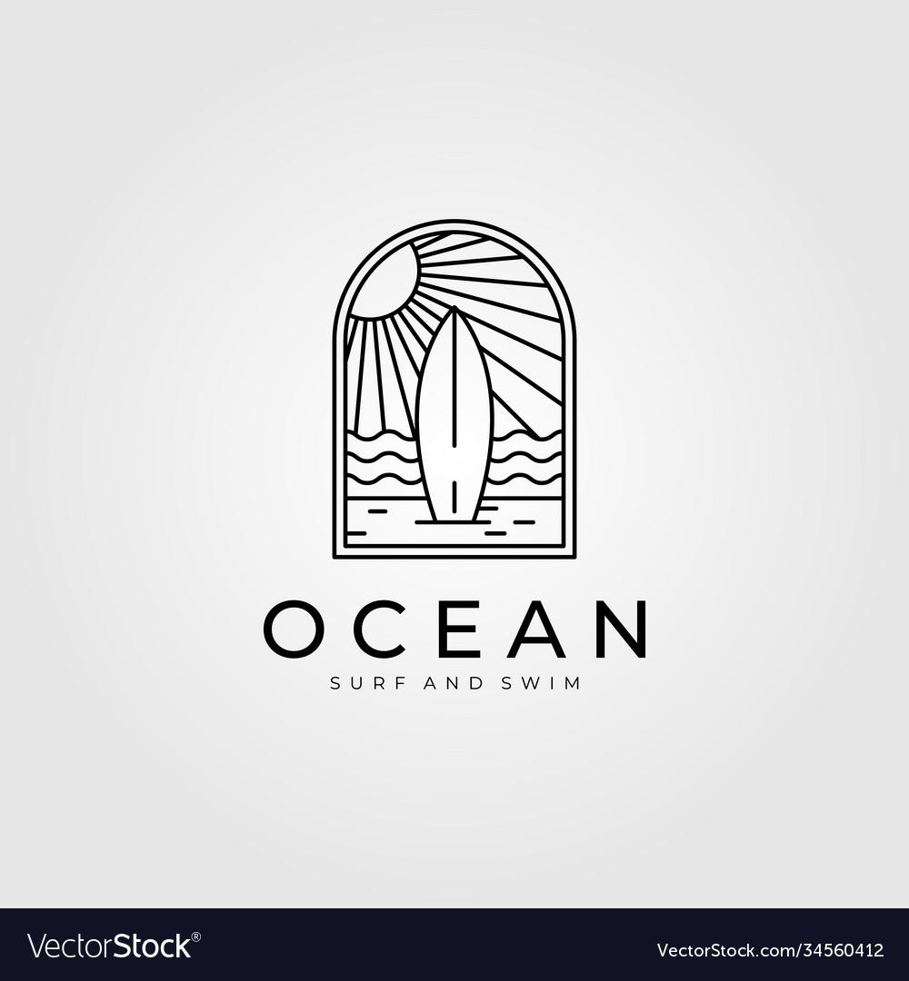 Ocean surf line art logo design beach logo design