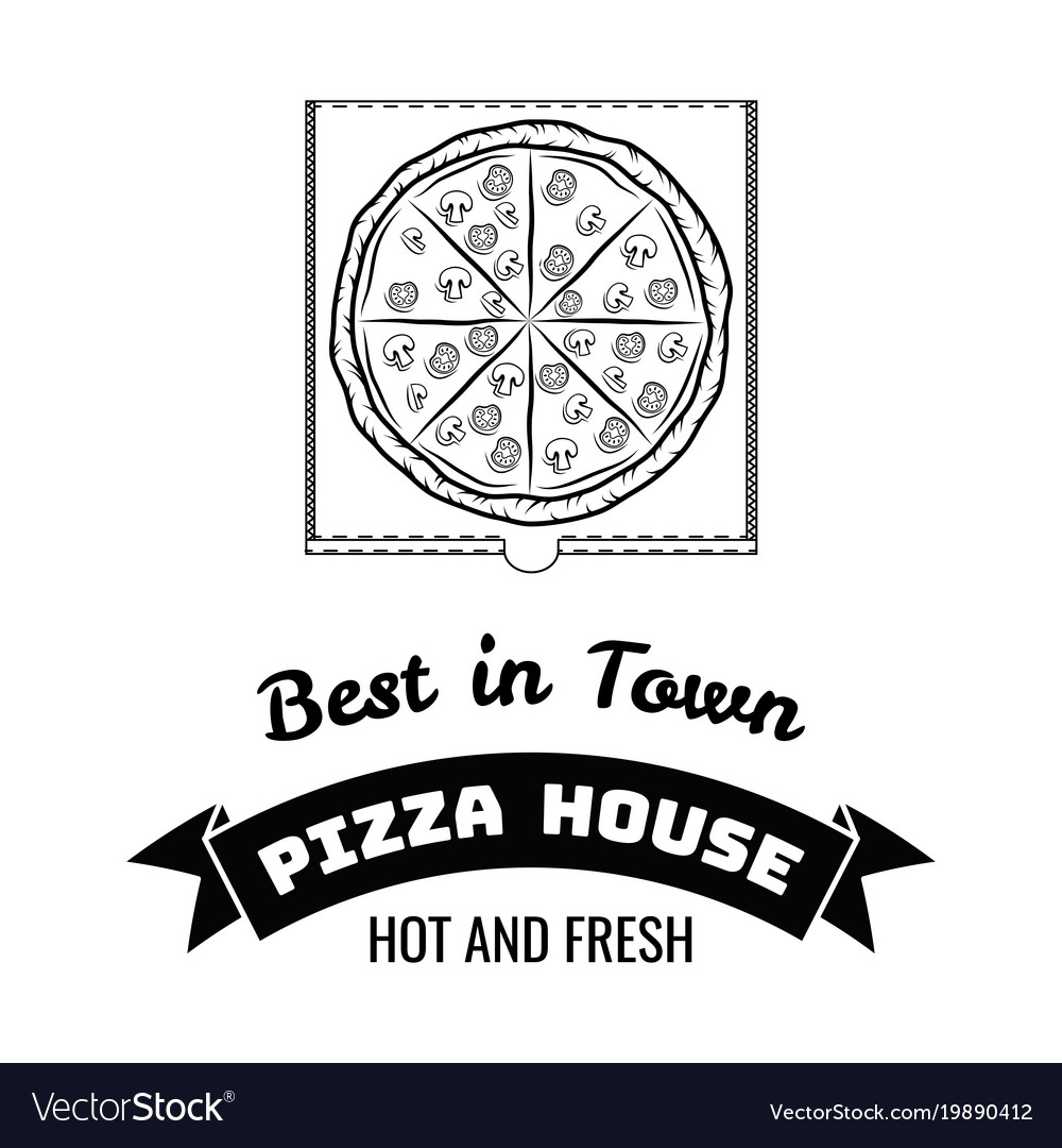 Pizza house badge box label