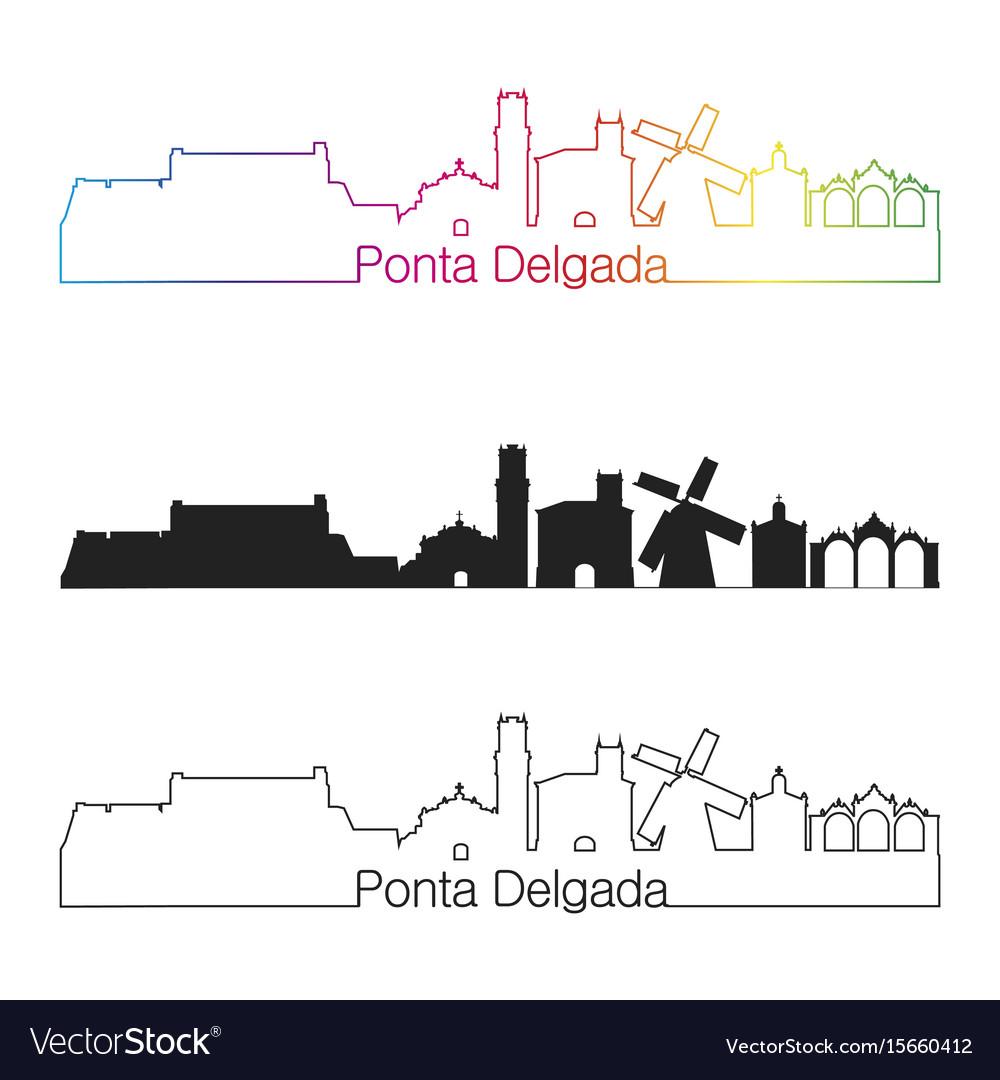 Ponta delgada skyline linear style with rainbow