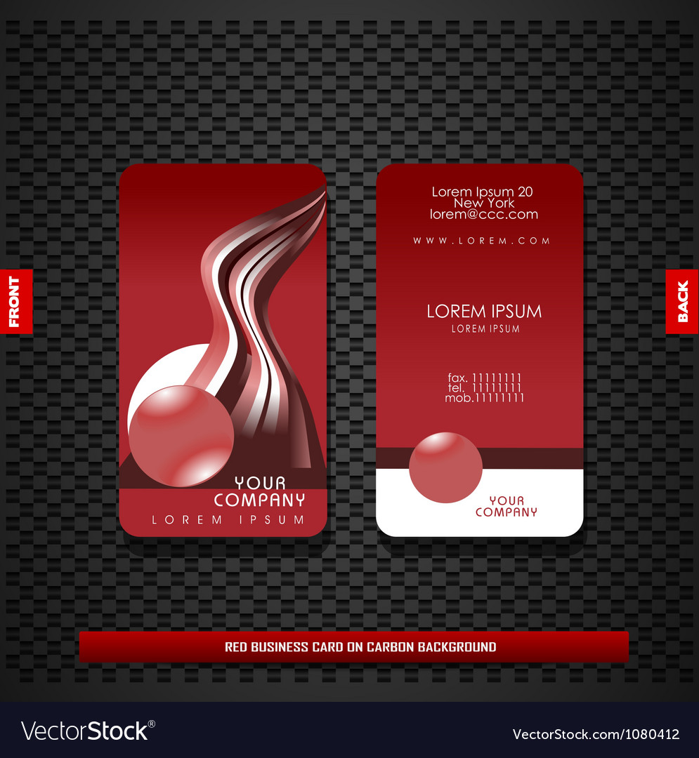red business card on carbon background royalty free vector