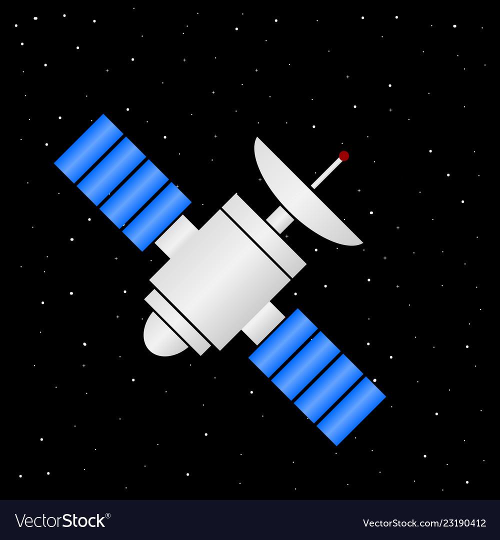 Space satellite icon on stars night sky vector image