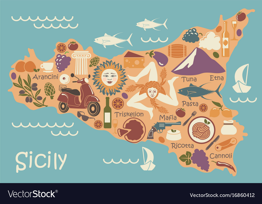 Stylized Map Of Sicily With Traditional Symbols Vector Image
