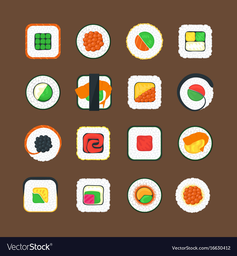 Sushi color icons set