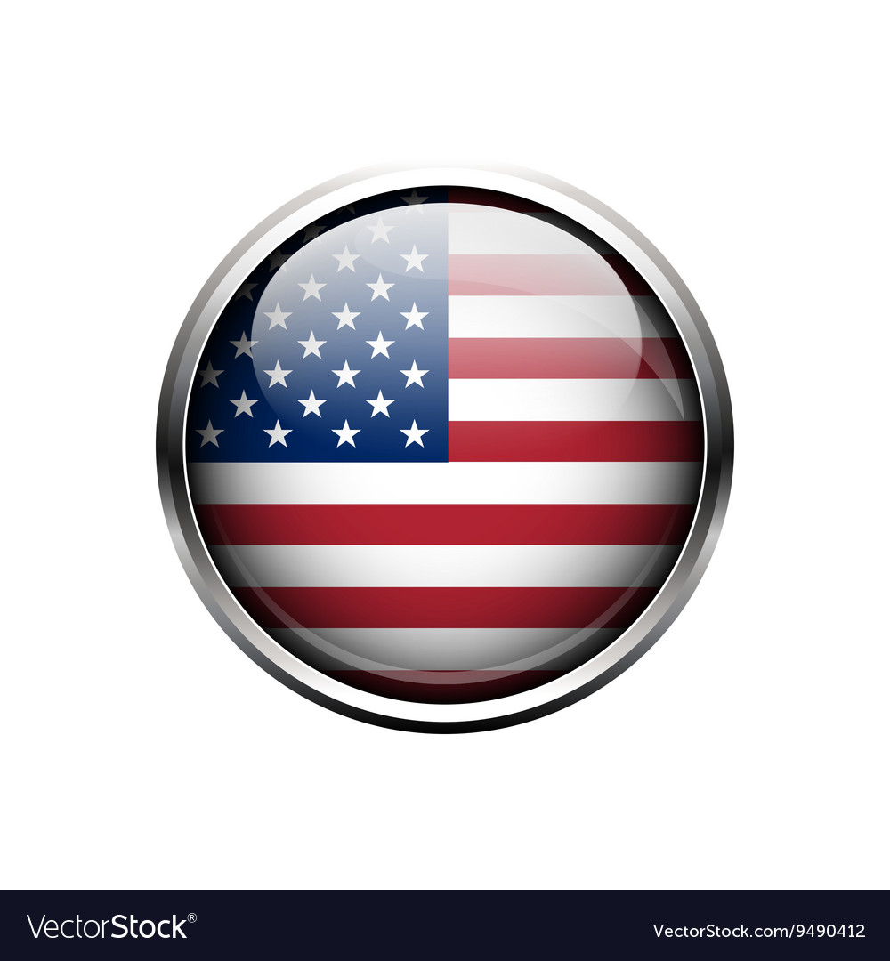 United State of America flag on button vector image