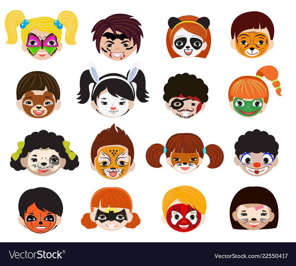 Face paint kids children portrait with
