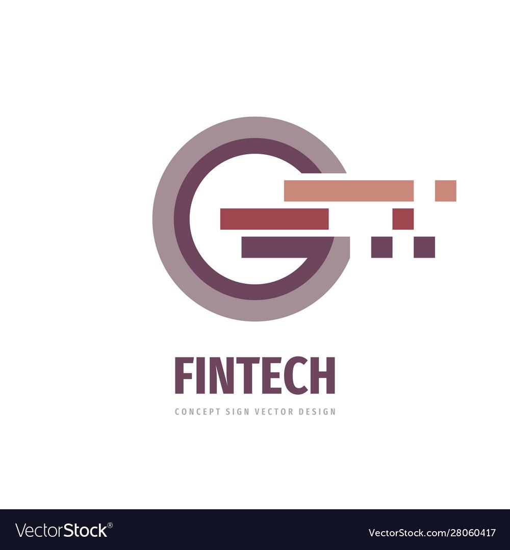 Fintech concept logo design business finance