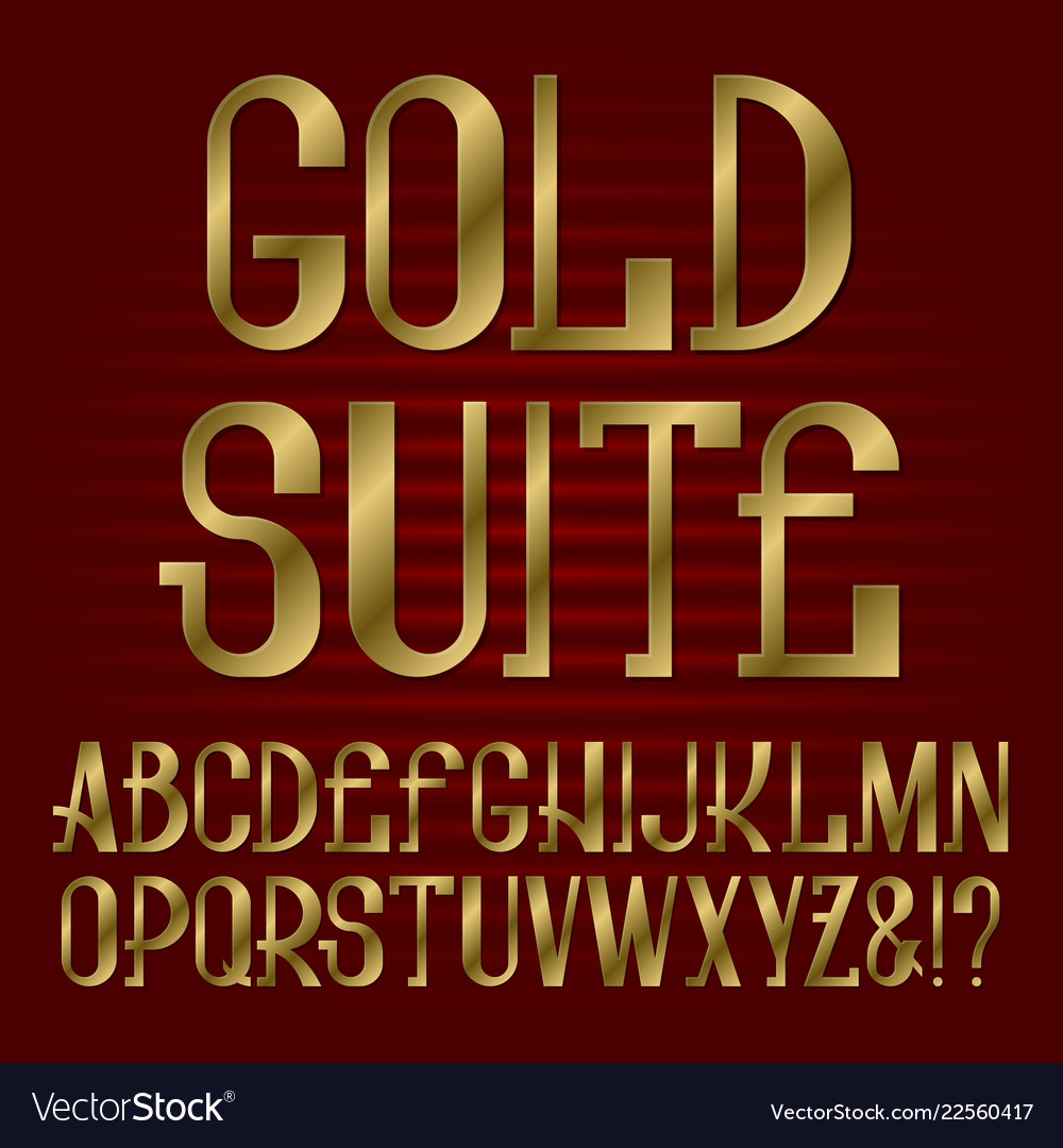 Golden capital letters isolated english alphabet