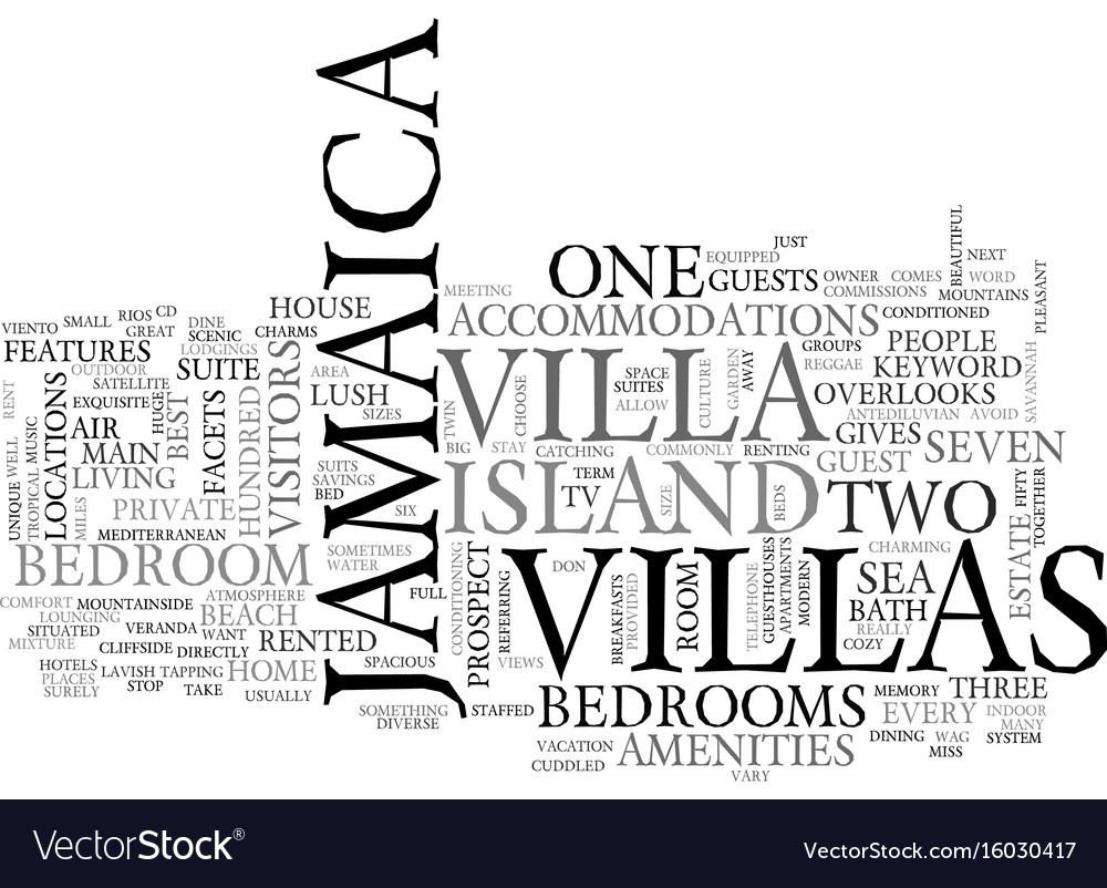 Jamaica villa text background word cloud concept vector image