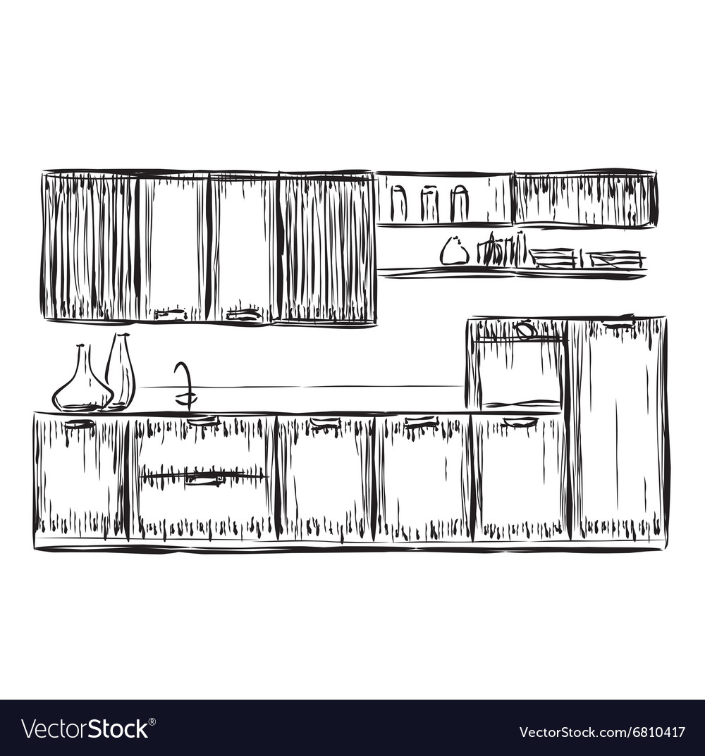 Kitchen Interior Drawing Royalty Free Vector Image