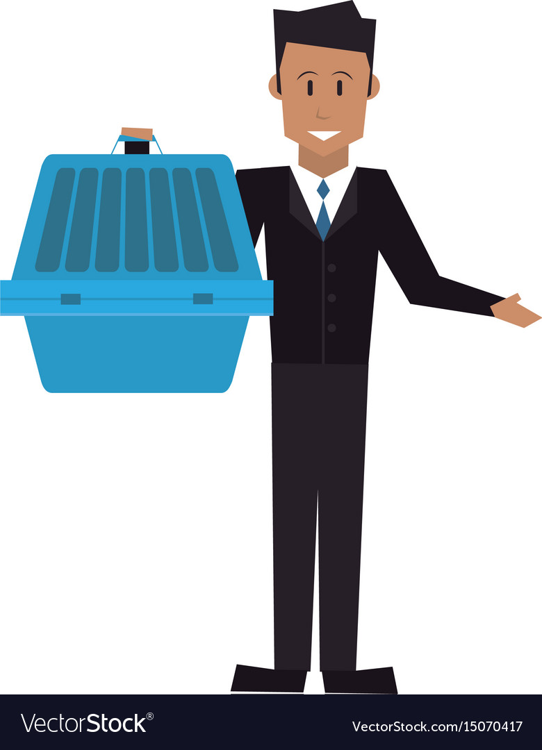 Man holding pet carrying box transport image