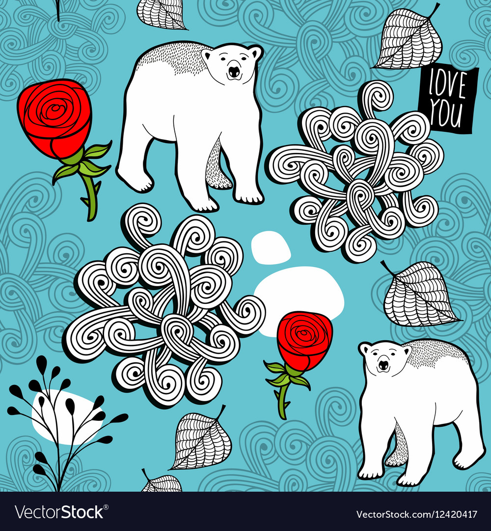 Seamless pattern with red roses and white polar
