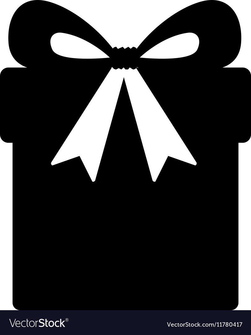 Silhouette Monochrome Gift Box With Ribbon Vector Image