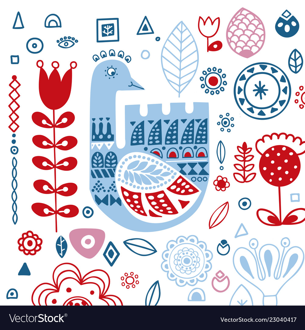 Stylized folk ornament with winter goose template