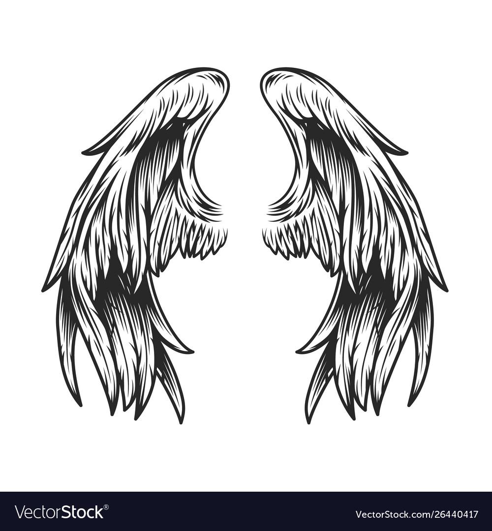 Vintage angel wings template