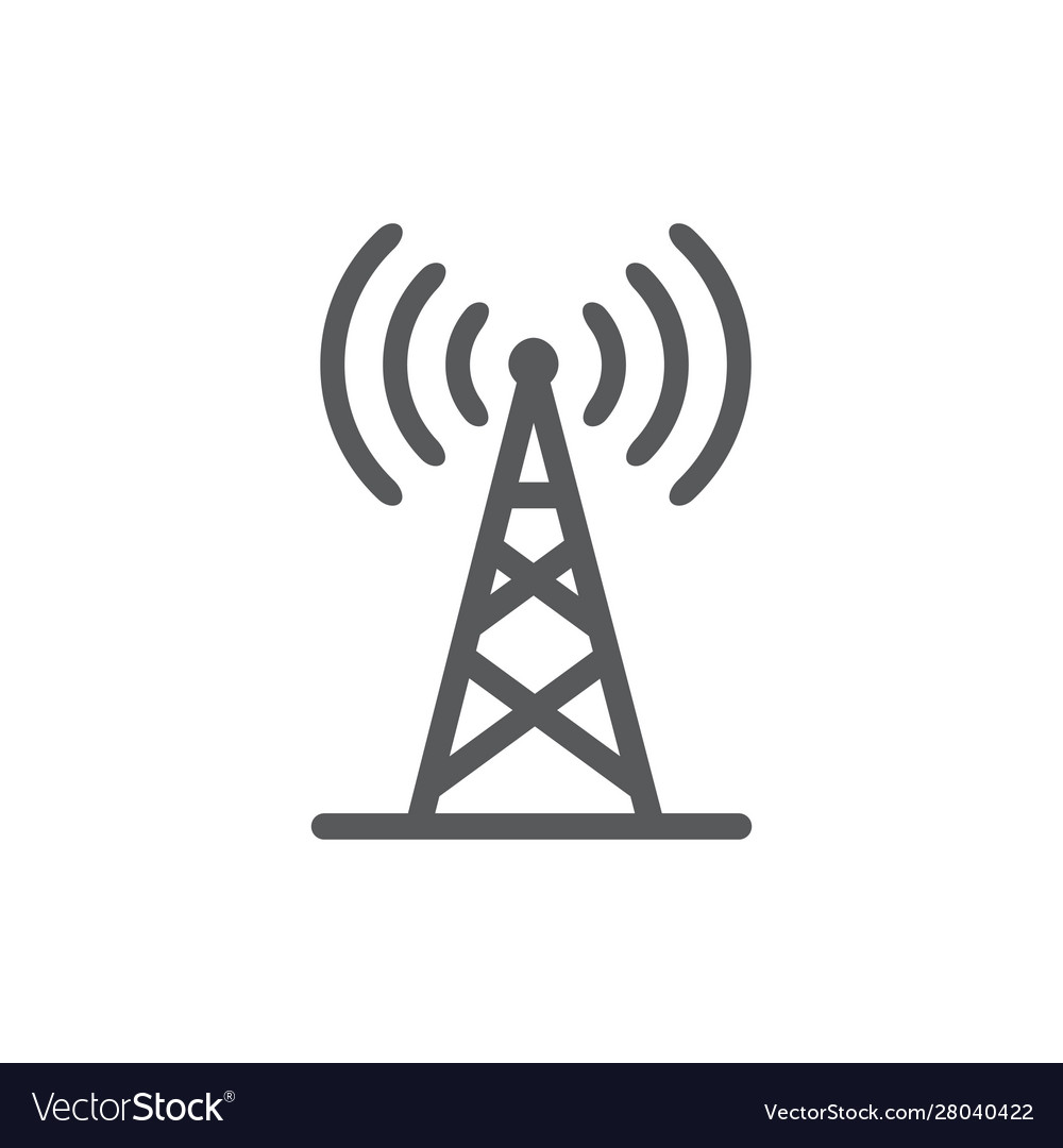 Antenna line icon on white background