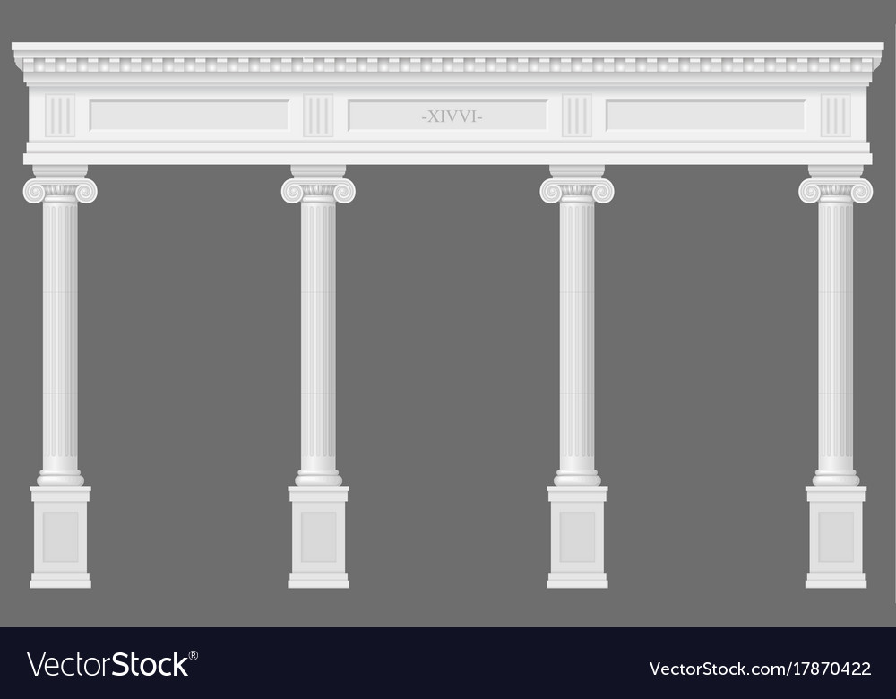 Antique white colonnade