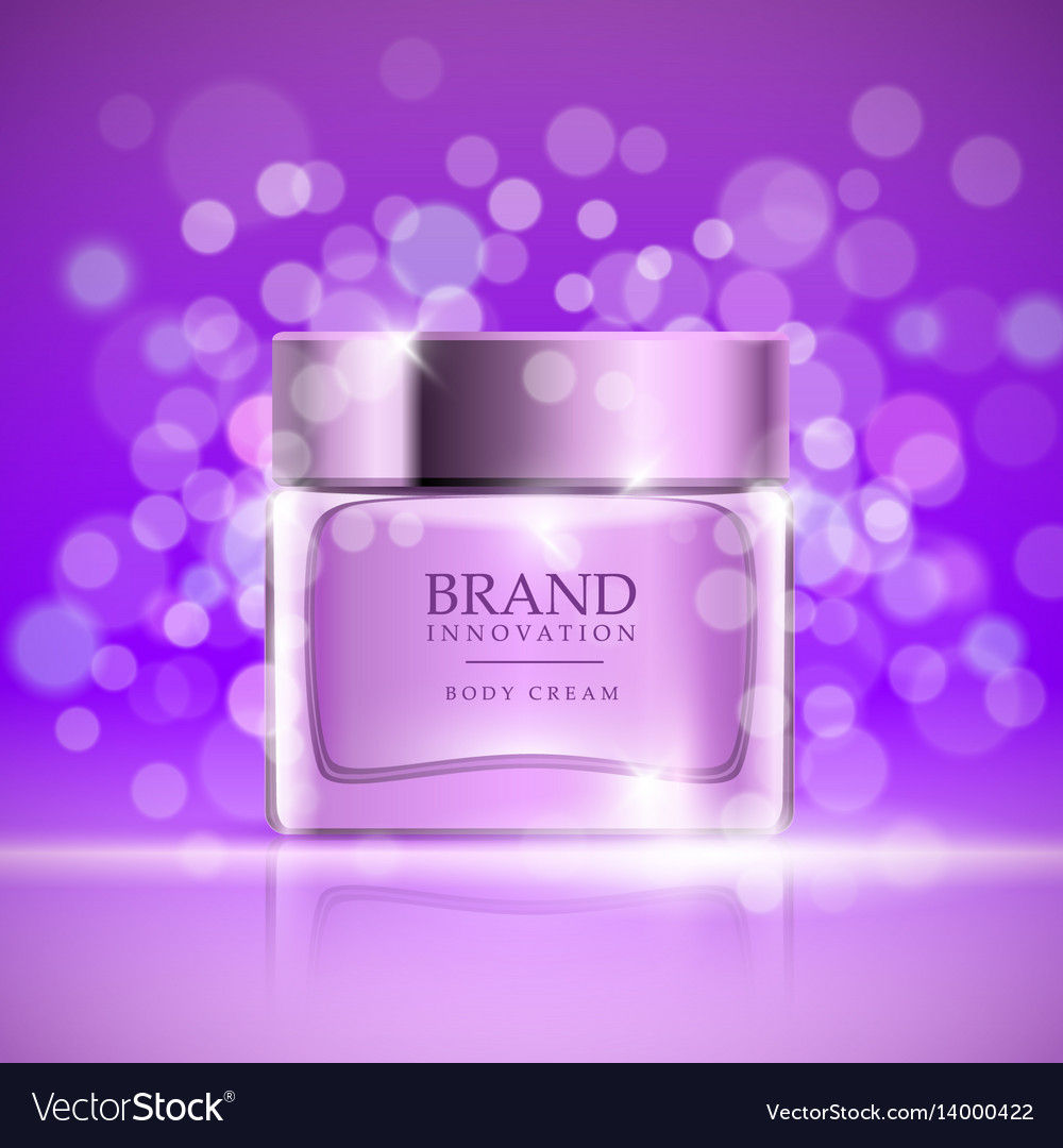 beauty cream on purple bubbles background skin vector image