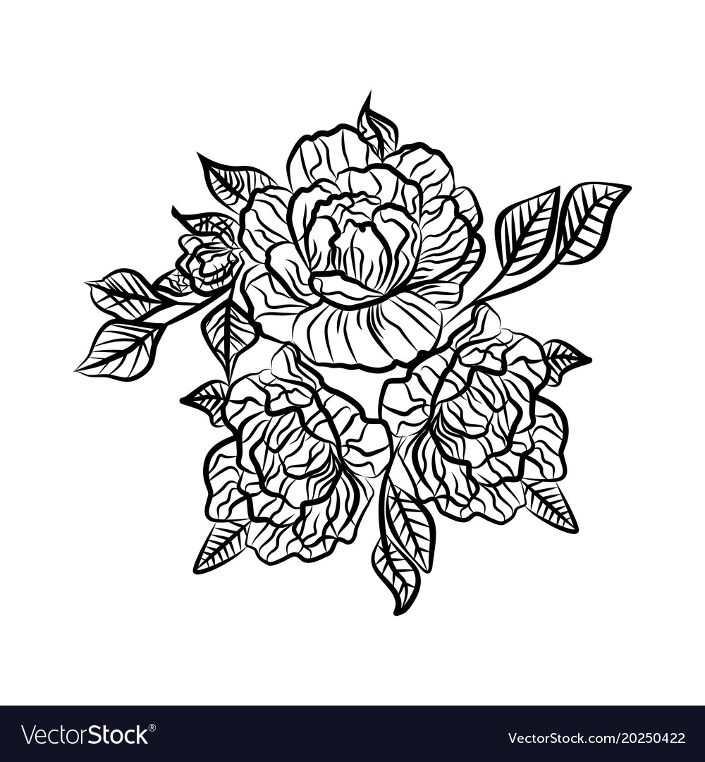 Black and white drawing of a rose tattoo vector image mightylinksfo