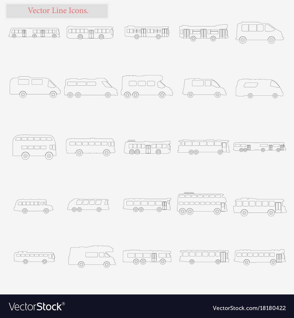 Bus set style line icons on white